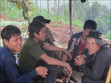 Lao villagers who work on a rubber plantation