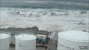 BBC NEWS - This image shows the first waters of the tsunami breaching the Fukushima power plant's buildings