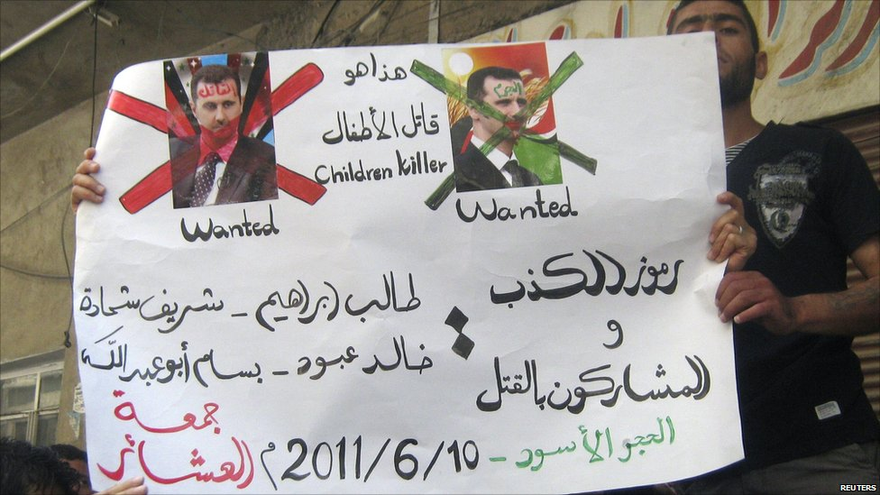 Protesters with placard in Hajar Al Asswad, Damascus. 10 June 2011