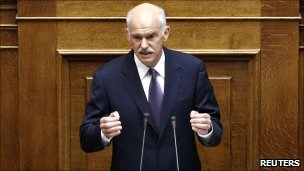 Prime Minister George Papandreou addresses a session of the parliament in Athens on 19 June