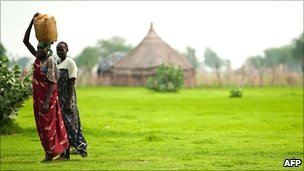 Women in a village in Unity State
