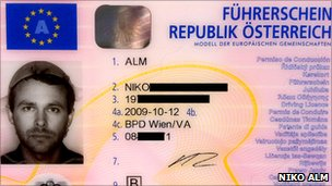 Driving licence of Niko Alm