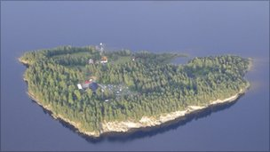 An aerial view of Utoya Island, Norway taken Thursday, July 21
