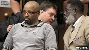 Anthony Sowell listens as the guilty verdicts are read at his murder trial in Cleveland, on 22 July 2011