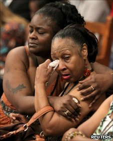 Relatives of the victims in court in Cleveland on 22 July 2011