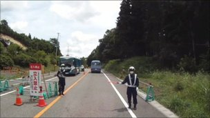 Roadblock near Fukushima exclusions zone