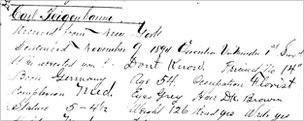 Prison record describing Feigenbaum