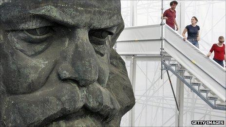 Plastic bust sculpture of Karl Marx