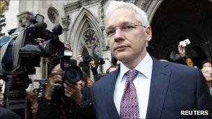 Julian Assange at the High Court, London (13 July 2011)
