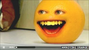 A still from an episode of Annoying Orange on Blip.tv