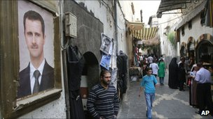 Portrait of President Assad on a Damascus street - 24 September