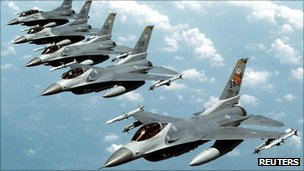 Undated US Air Force handout photo of five US Air Force F-16 jet fighters