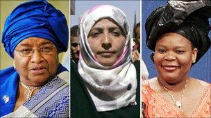 Liberian President Ellen Johnson Sirleaf, Yemeni activist Tawakul Karman and Liberian activist Leymah Gbowee.