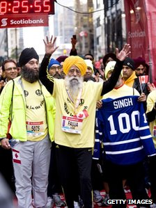 """Fauja Singh completed the Toronto marathon in 8 hours 25 minutes."" (photo: bbc.co.uk)"