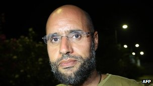 Saif al-Islam in the Libyan capital Tripoli in the early hours of August 23, 2011