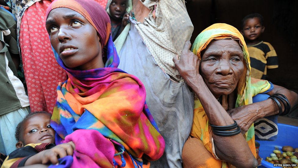 Women at a makeshift camp in Galkayo, Somalia
