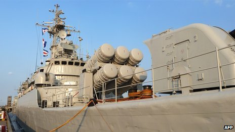 A Chinese frigate sits berthed in Shanghai on September 22, 2011.