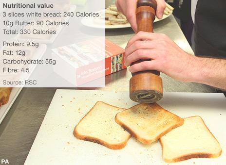 Toast sandwich being prepared