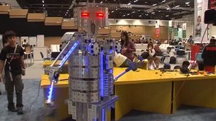 A robot on display at the World Robot Olympiad