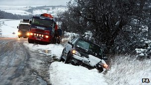 Car in ditch after snow