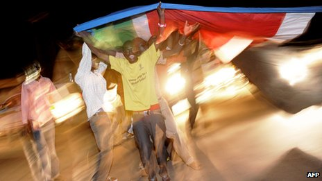 South Sudanese celebrating independence in Juba