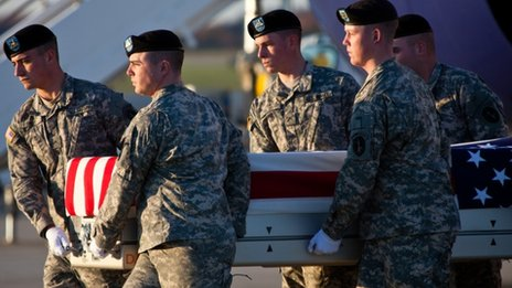The remains of a US soldier arrive at Dover Air Force Base on 12 November 2011