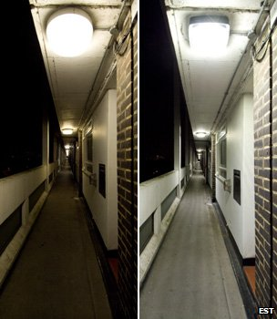 Communal area with standard lighting (left) and LED fittings (right) (Image: Energy Saving Trust)