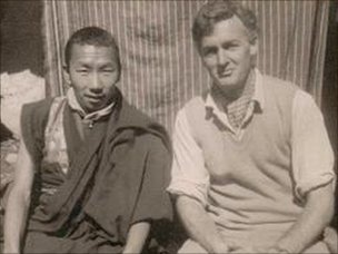 Peter Byrne photographed in 1958/59 with the head lama at the Pangboche monastery