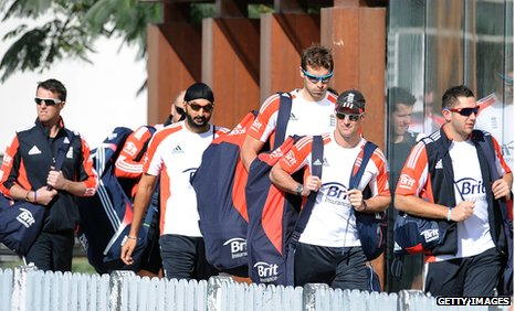 England arrive for practice in Dubai