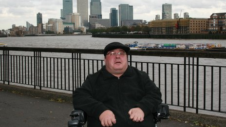Pat Davey beside the Thames in Tower Hamlets