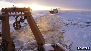 icebreaker in field of sea ice