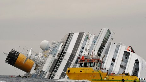 The Costa Concordia off the coast of Italy - 16 January 2012