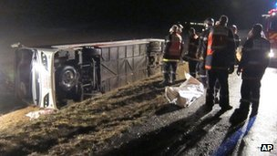 Overturned school coach in France