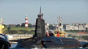 HMS Vigilant sailing into Plymouth: Pic Royal Navy