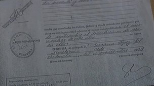 The document Jade's parents were given in Spain