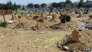 A sign on the ground marks the place for municipal workers to dig in Cornebarrieu cemetery in Toulouse, where Mohamed Merah was due to be buried.