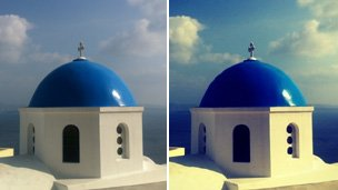 Before and after shots of a Church dome using Instagram