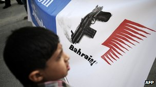 A Bahraini Shia Muslim youth takes part in a demonstration calling for cancellation of the Bahrain F1 Grand Prix, on April 17, 2012, in the town of Muharraq
