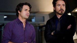 Mark Ruffalo and Robert Downey Jr in Avengers Assemble
