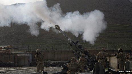 US soldiers in Afghanistan firing Howitzer artillery