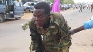 A man in uniform injured in the suicide attack in Dusa Mareb on 1 May 2012