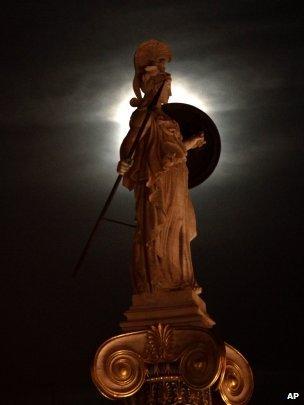 A statue of ancient Greek Goddess Athena