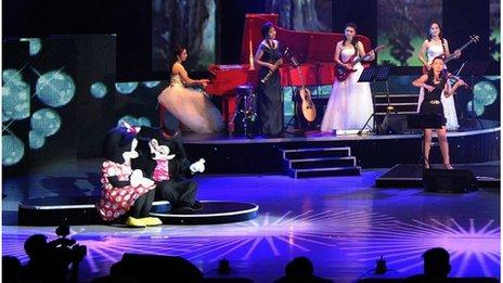 Disney characters at North Korean concert