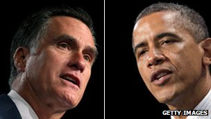 Mitt Romney (l) and Barack Obama (r)
