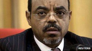 Ethiopian Prime Minister Meles Zenawi pictured in 13 April 2009 (file picture)
