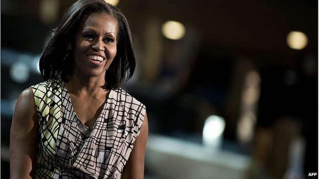 Michelle Obama at a walk-through of her 2012 convention speech