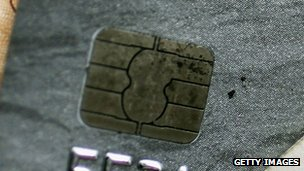 Chip in a chip and pin card