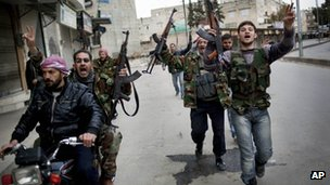 Syrian rebels celebrate in Idlib