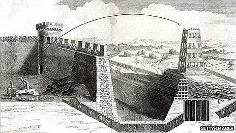 Drawing of catapult used during the Crusades