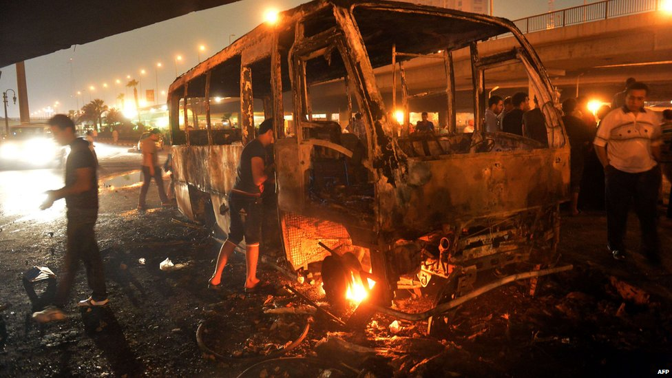 Burned out bus. Cairo 12 Oct 2012